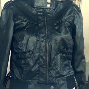 Miley Cyrus Max Azria black leather jacket xs